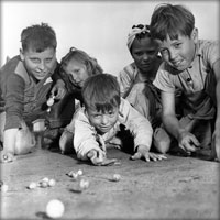 Kids with marbles, 1940s